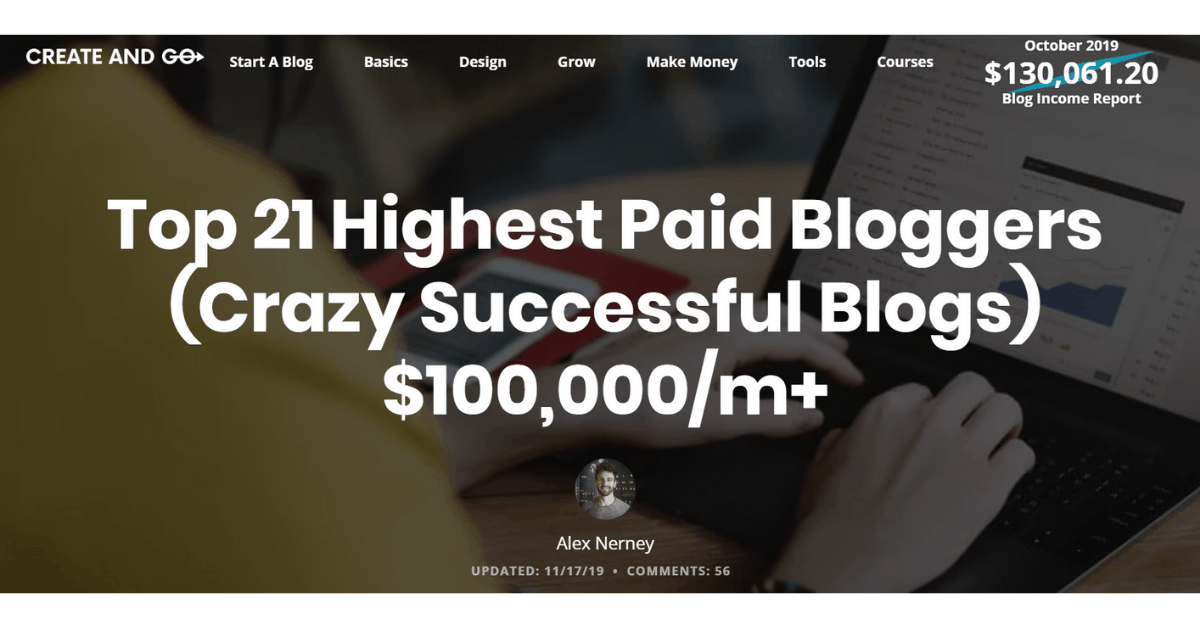 Create and Go - Highest Paid Bloggers