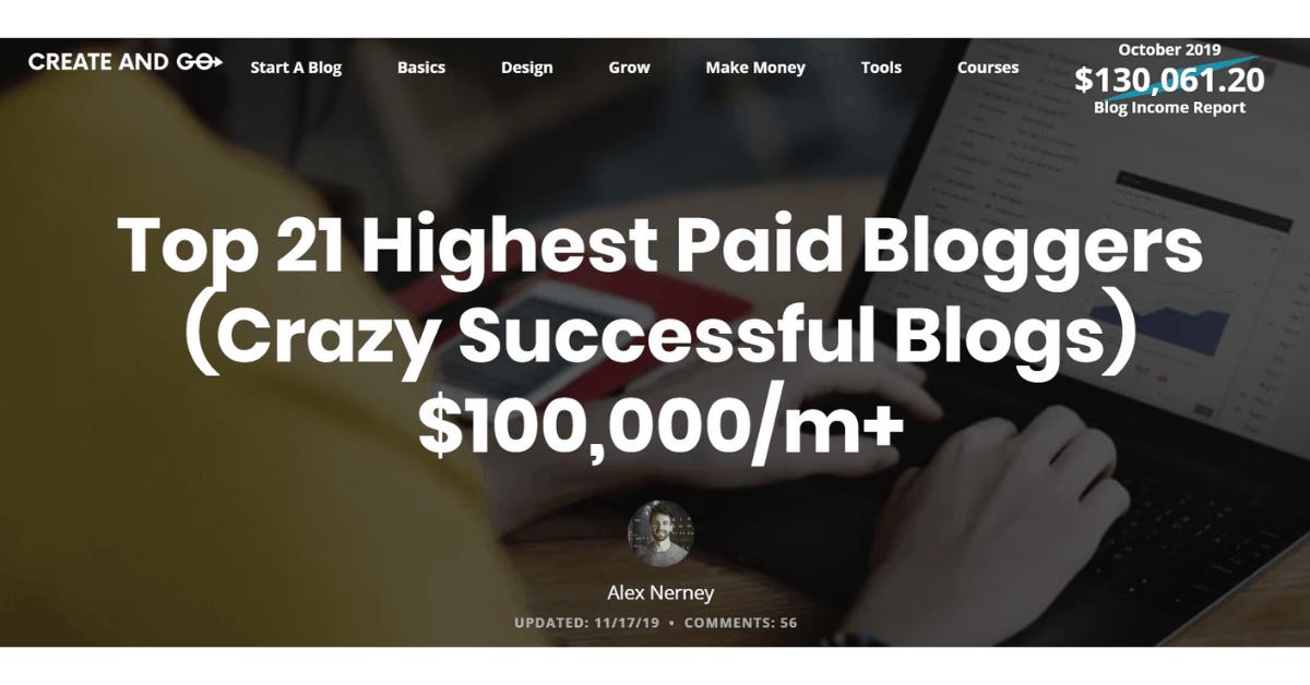 Crea e vai - I blogger più pagati