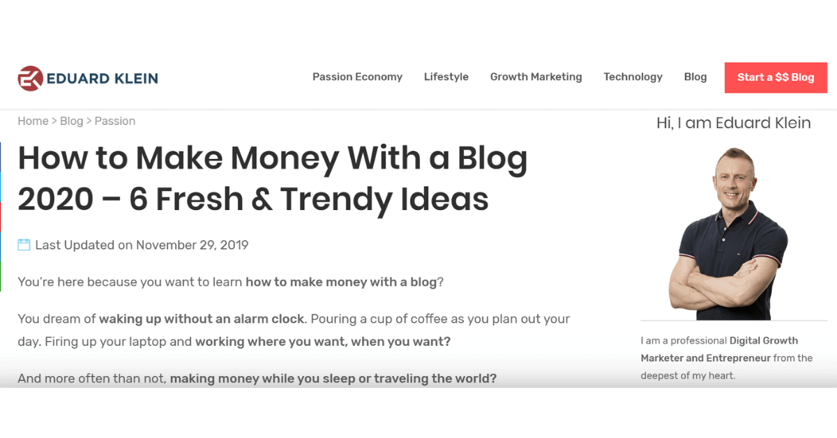 Eduard Klein -Make Money by Blogging