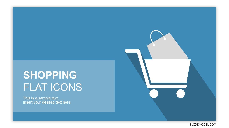 Flat shopping powerpoint slide