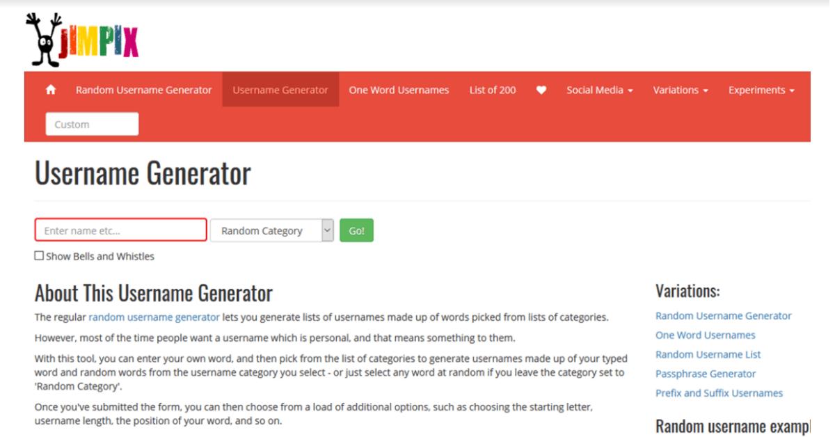Jimpix - Username Generator