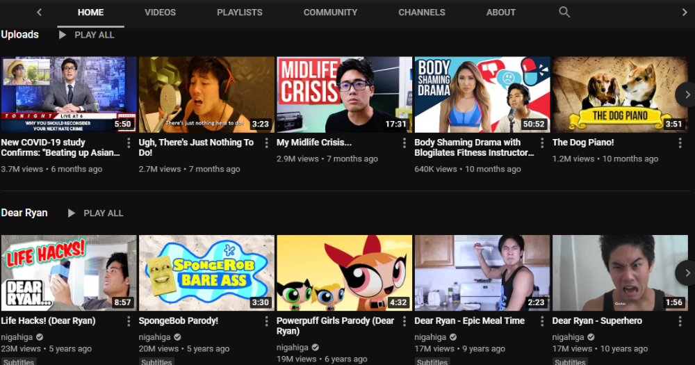 Ryan Higa YouTube Channel 2