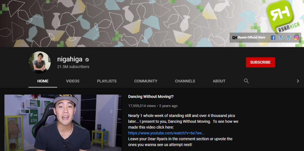 Ryan Higa YouTube Channel