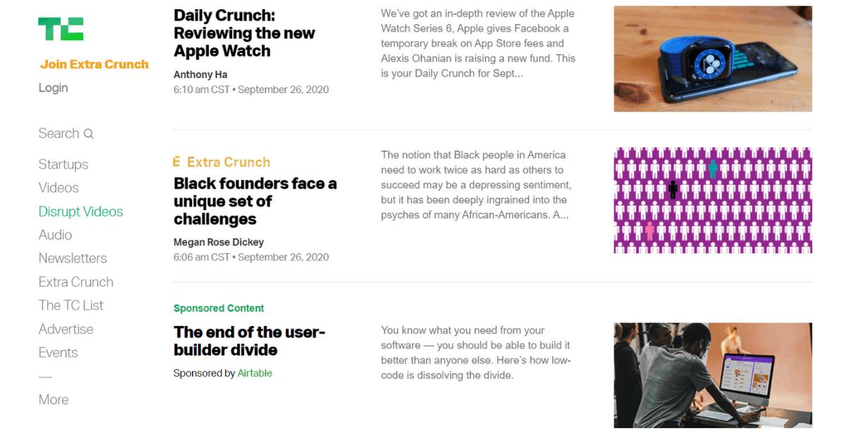 TechCrunch - Use of Right Blogging Platform