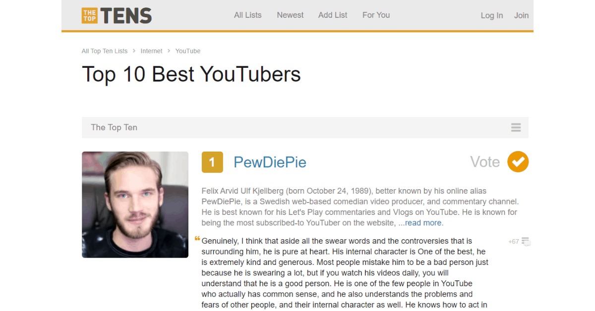 The Top tens - Youtuber