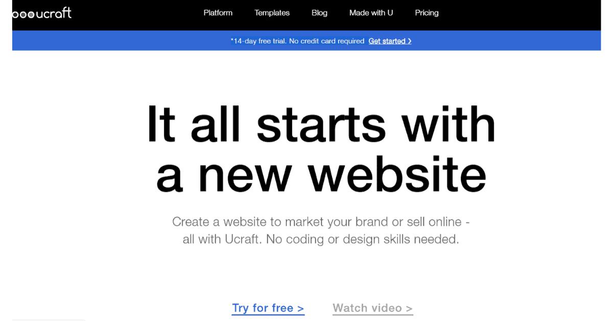 Ucraft: inizia con un nuovo sito Web