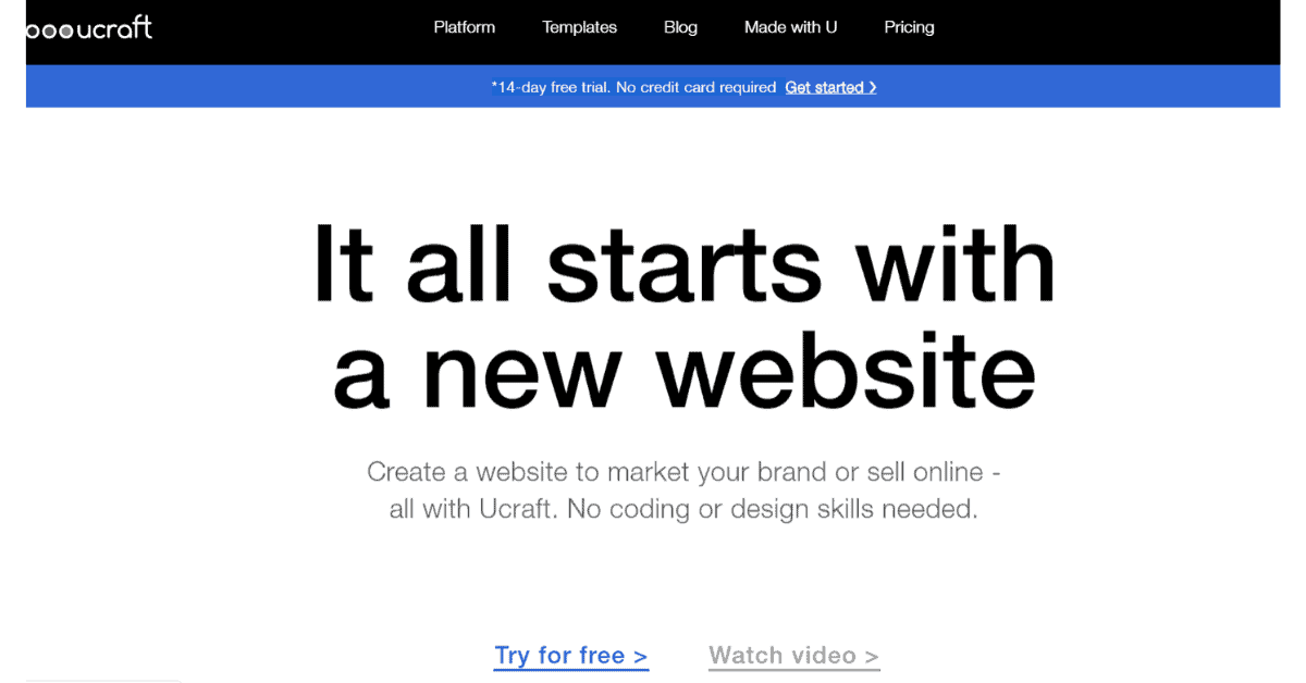 Ucraft - Start with a new website