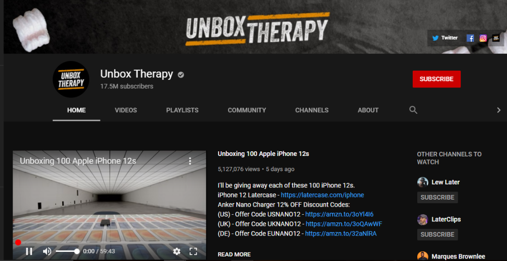 Unbox Therapy YouTube 1
