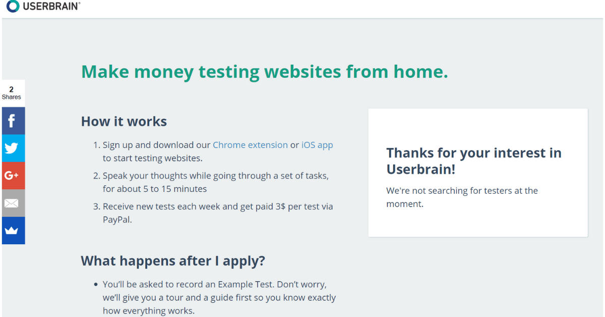 Userbrain - Diventa un tester