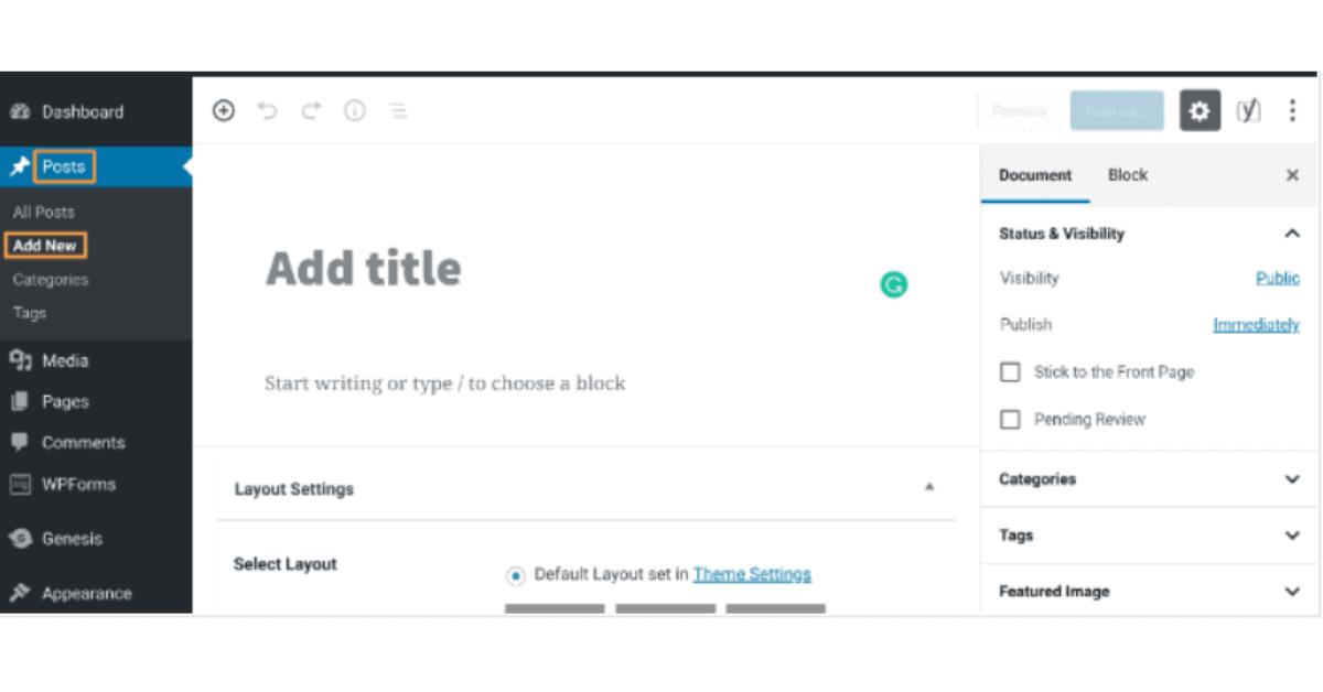 WordPress Blog Page - Create New Post
