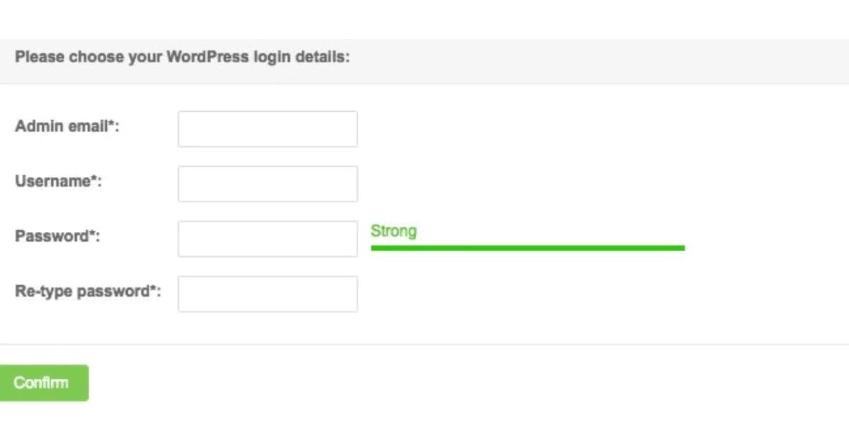 WordPress - Log In Details