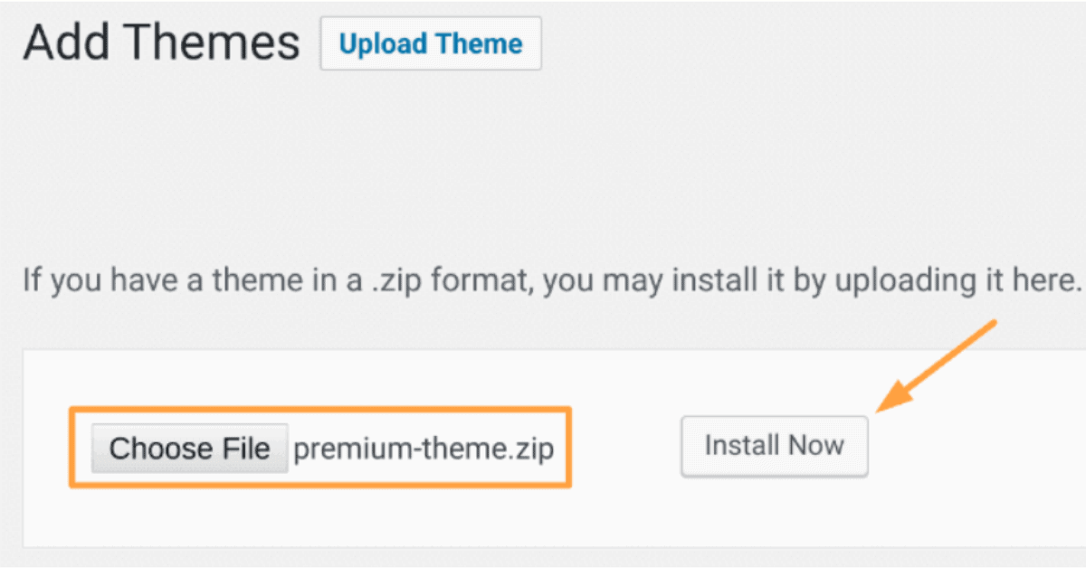 WordPress - Theme Installation Option 2