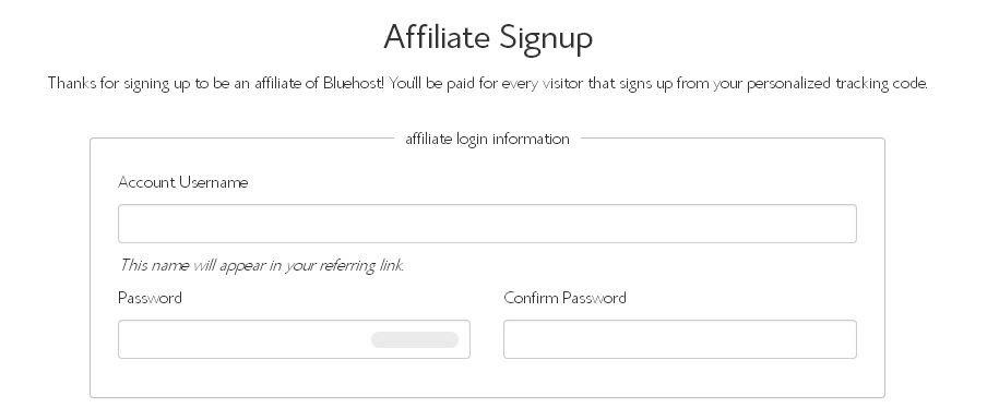 Blue Host Affiliate Signup Form