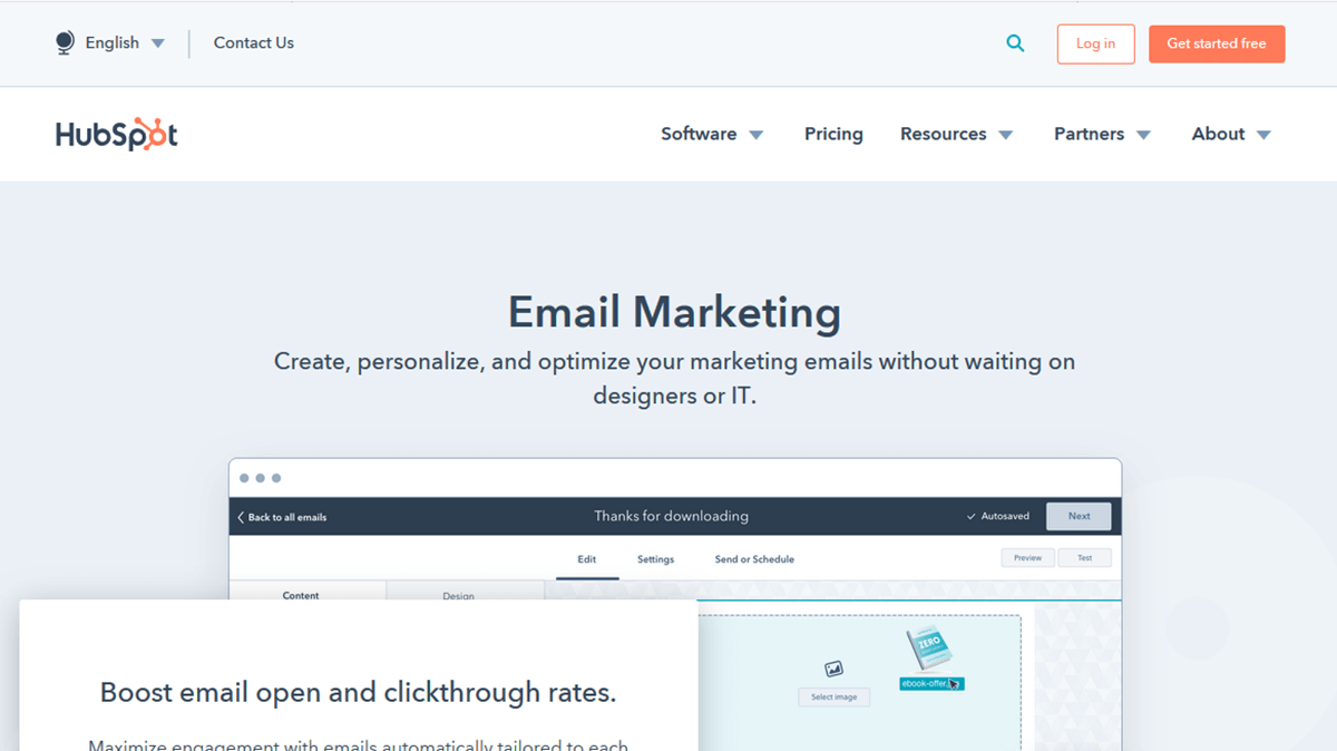 HubSpot Email e CRM
