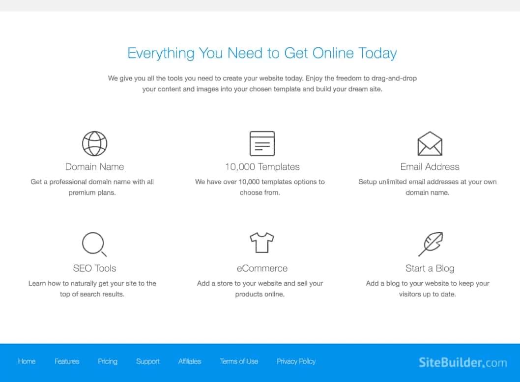 Sitebuilder tutto ciò di cui hai bisogno