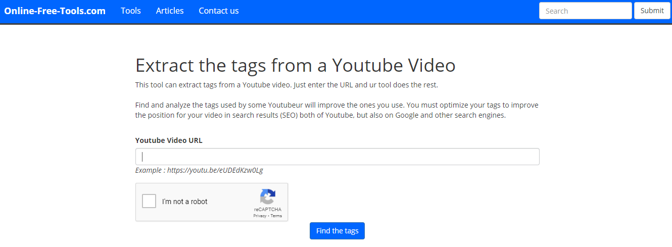 extract tags from youtube videos