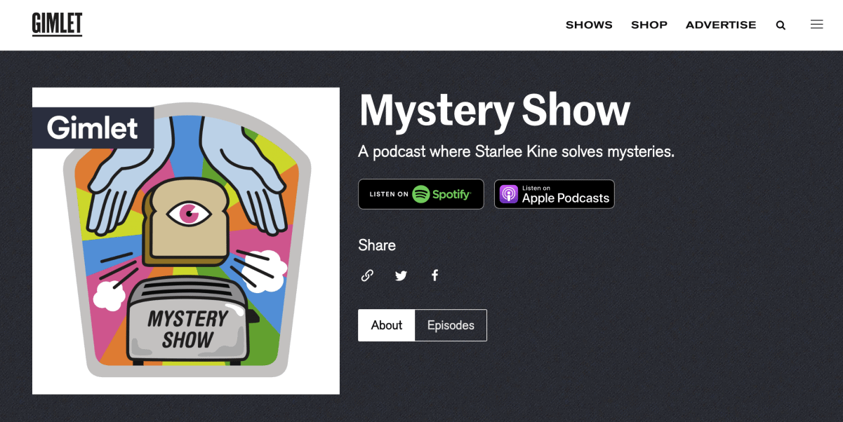 mystery podcast show of Gimlet