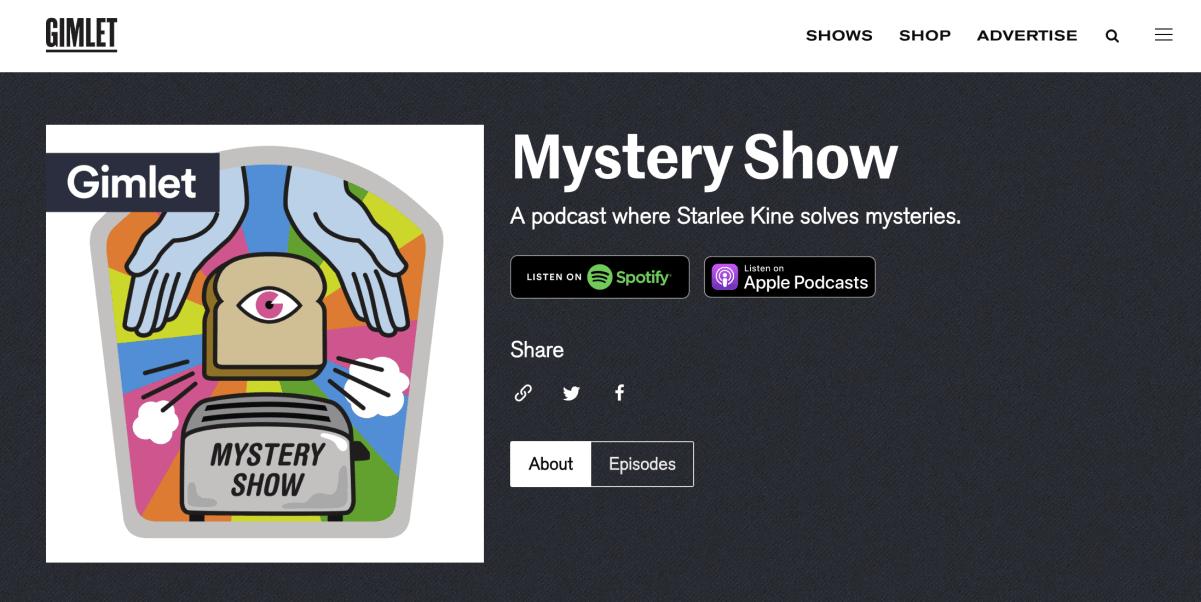 Spettacolo podcast misterioso di Gimlet