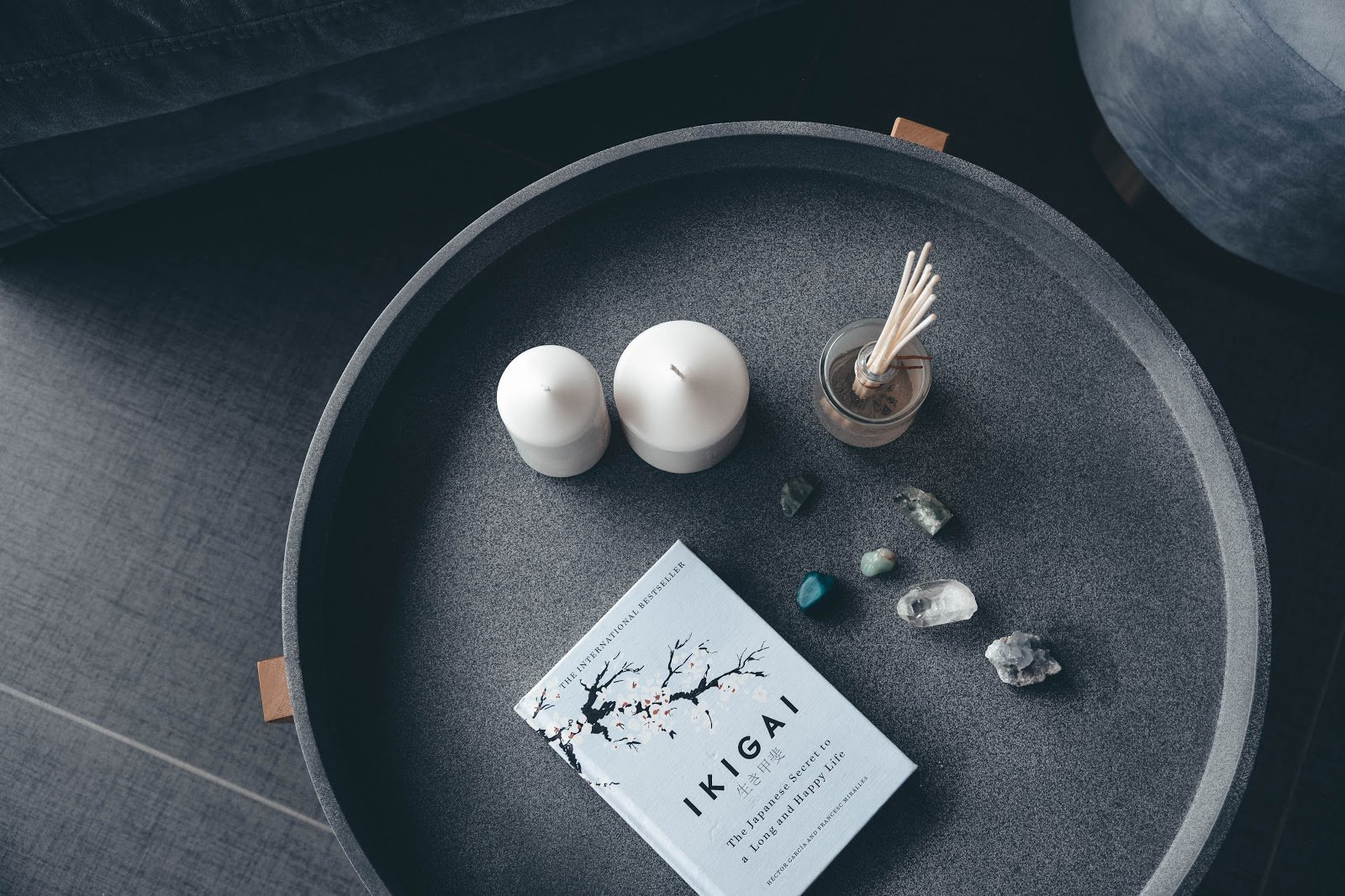 ikigai book on tray with candles
