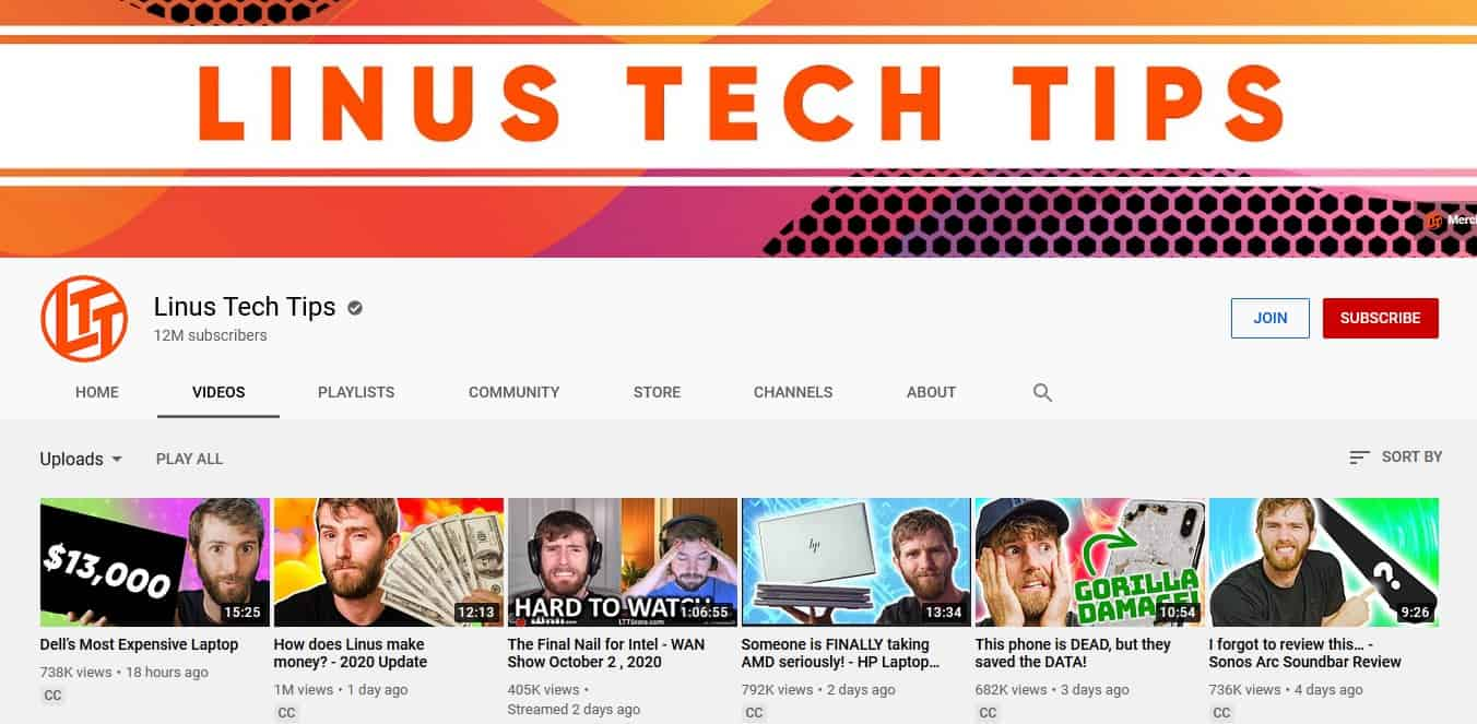 Linus Tech Tips YouTube Channel