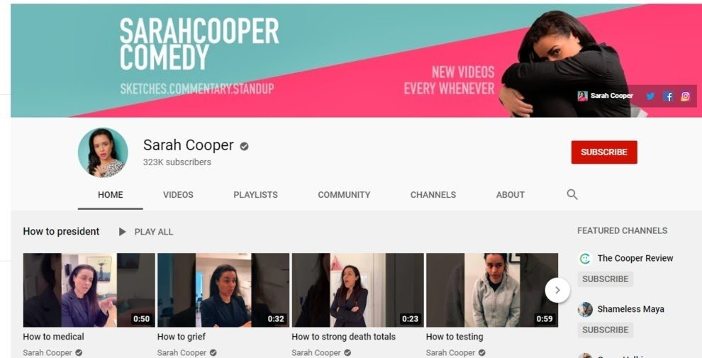 sarah cooper comedy channel