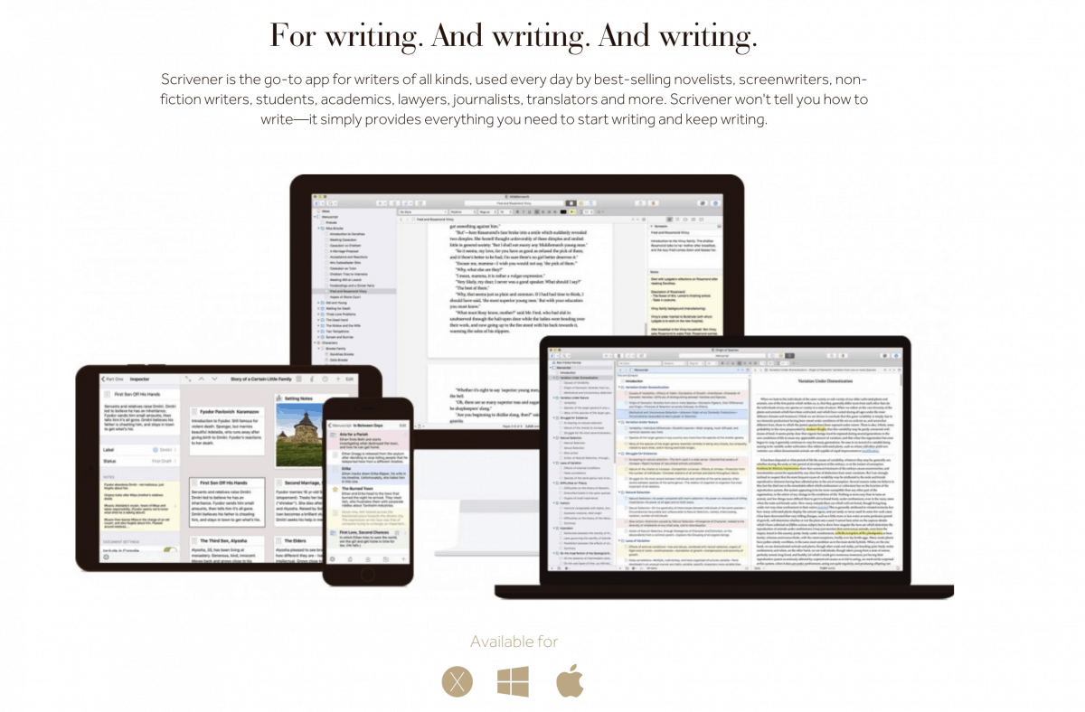 Scrivener App for Writers