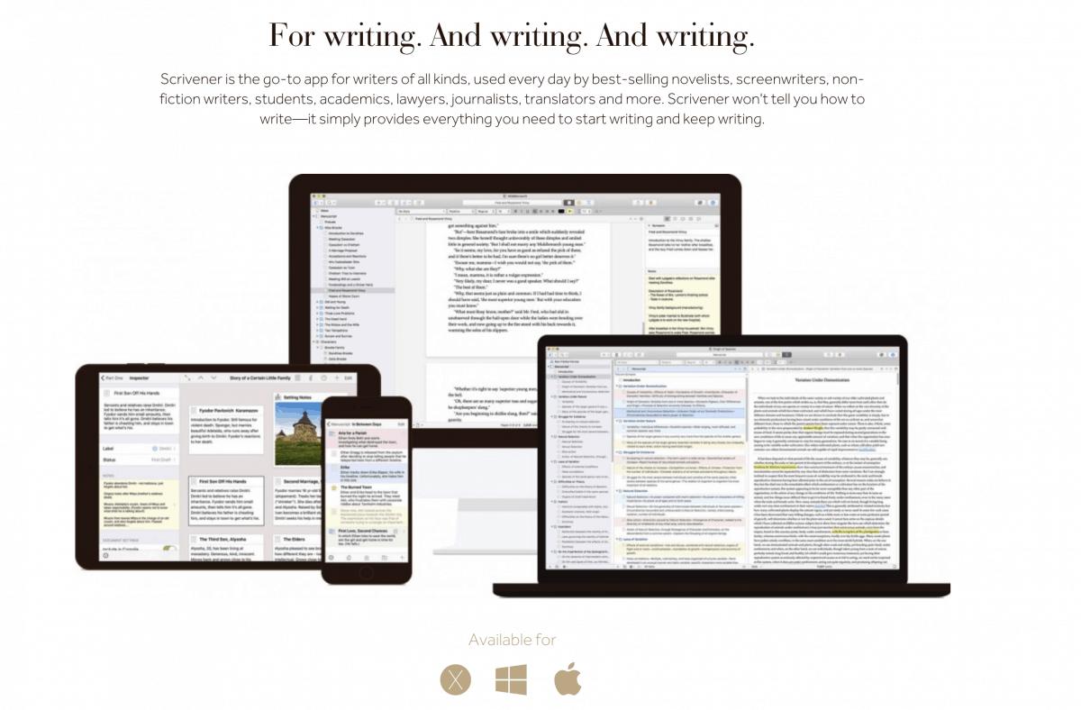 Scrivener App for Writers