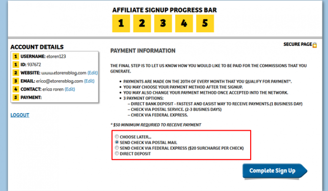 Shareasale Affiliate Register Payment