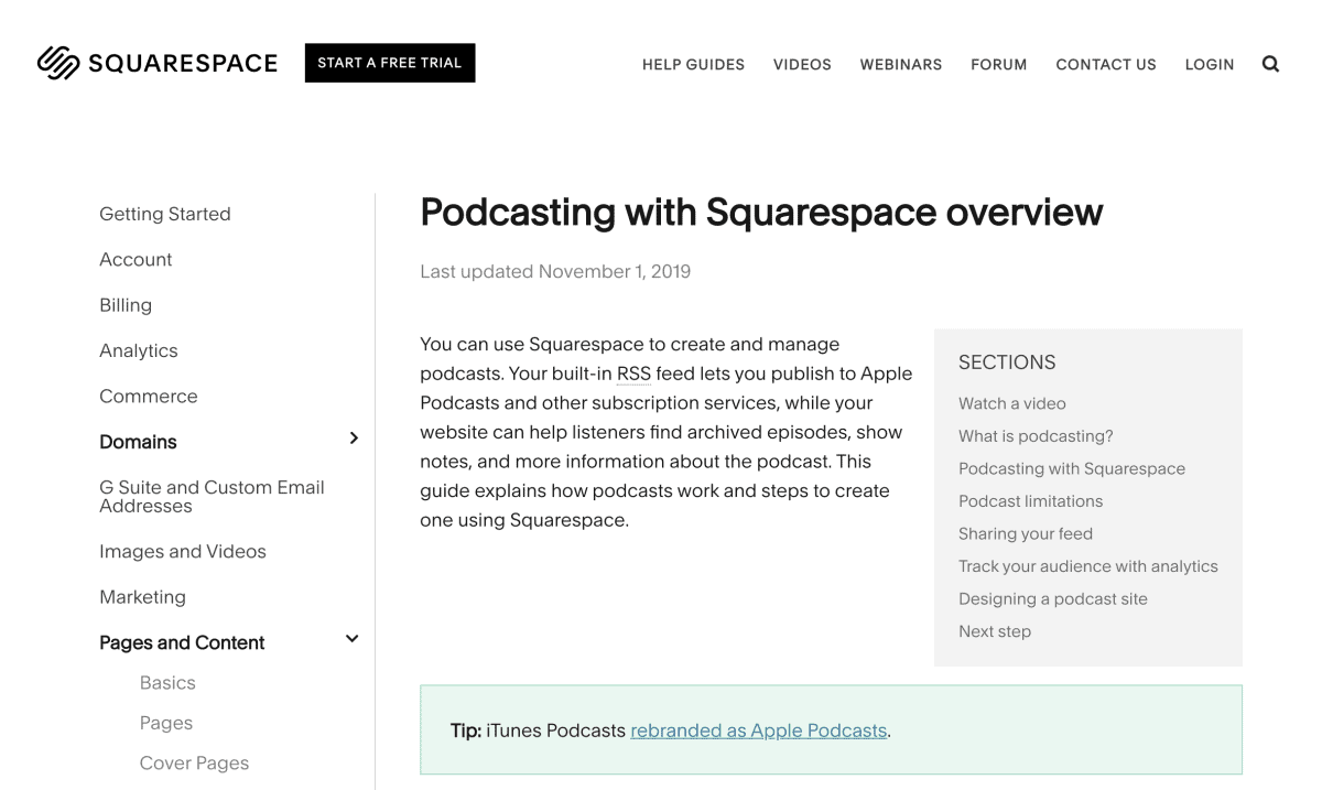 Squarespace Podcast Hosting