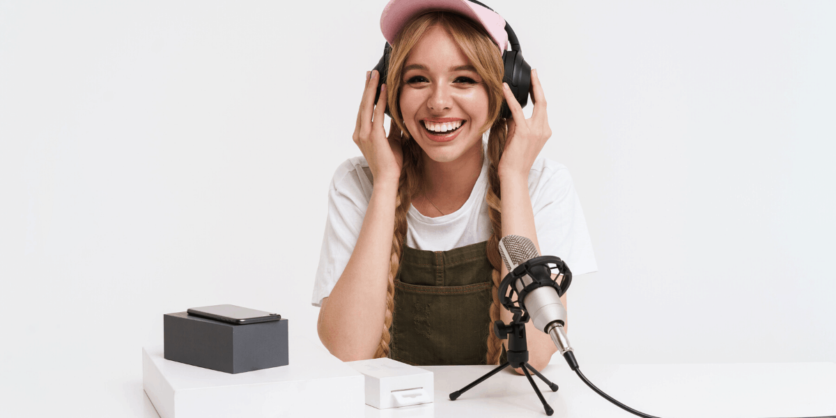 Woman starting a Podcast from Home