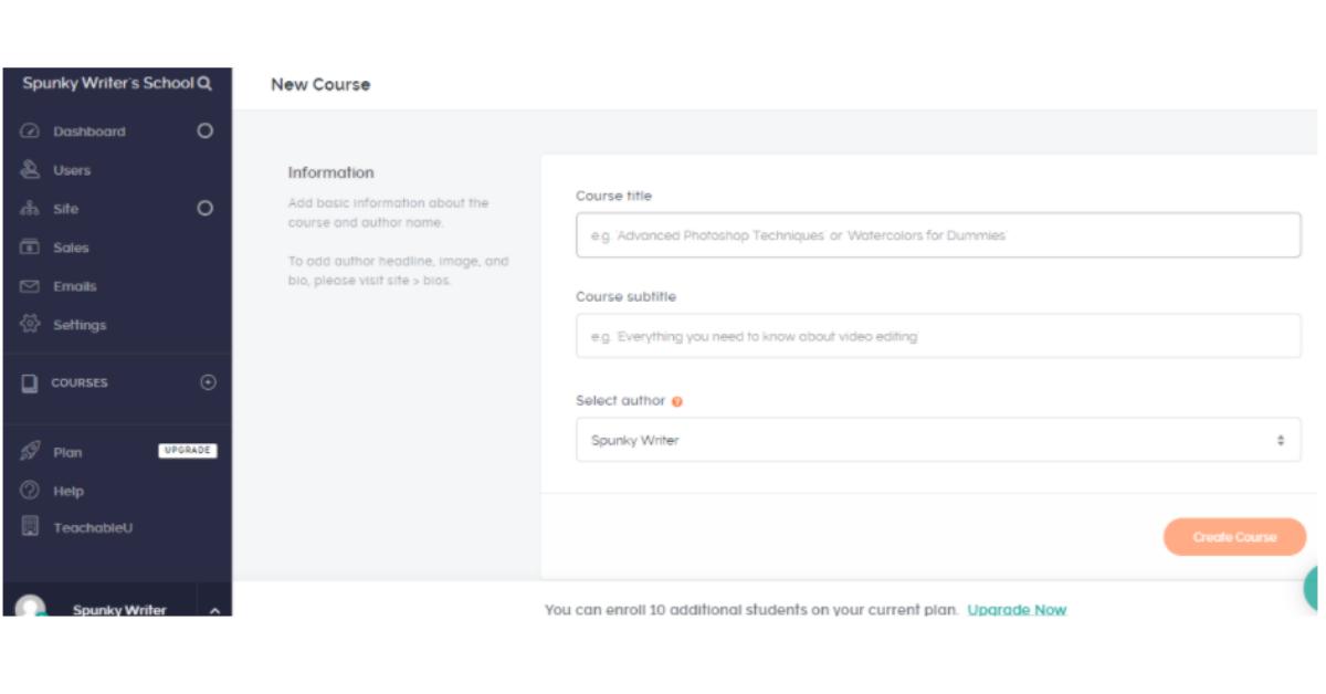 Teachable - Create New Course