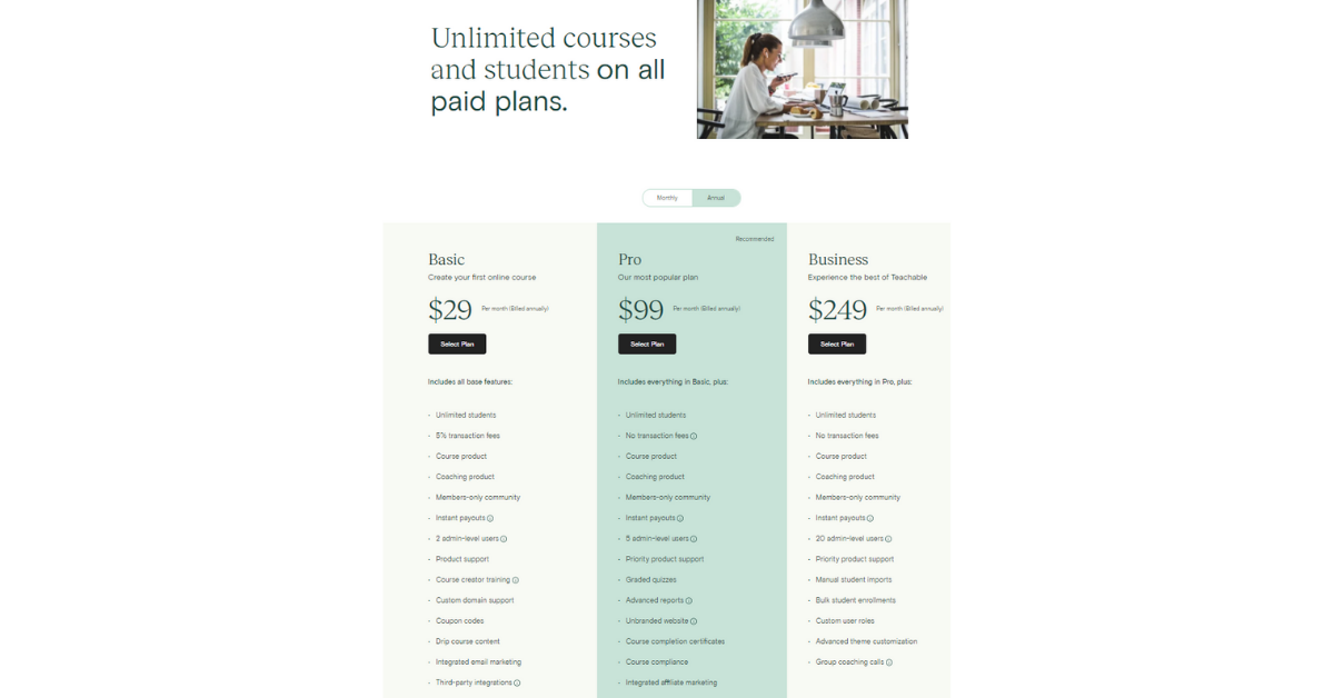 Teachable - Pricing Plans