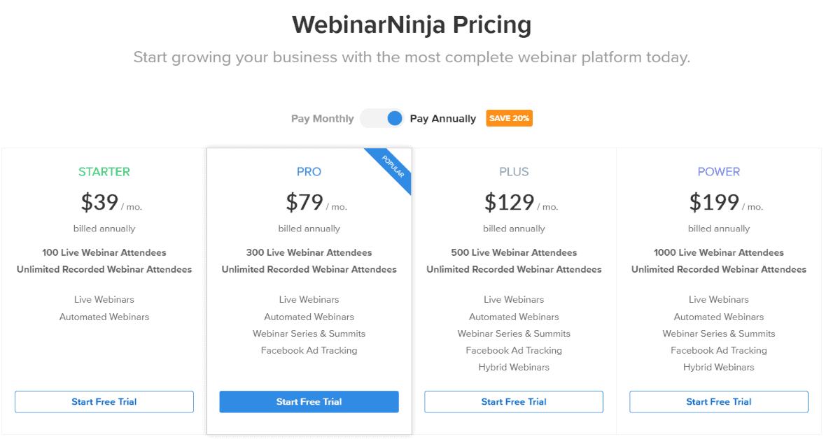 WebinarNinja Pricing
