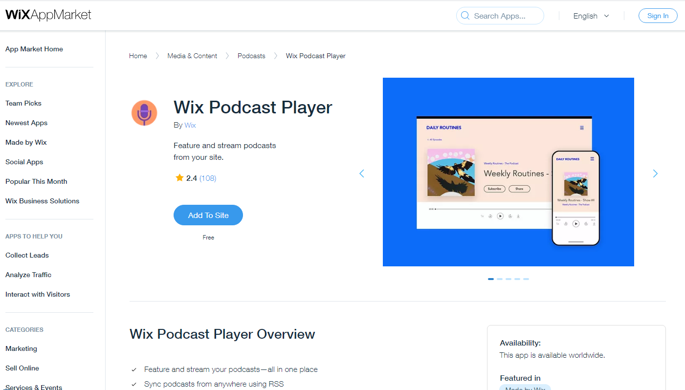 wix podcast player